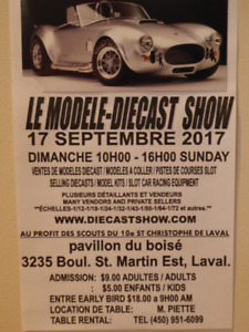 THE MODEL DIECAST / SLOT CAR SHOW NEAR MONTREAL SUNDAY SEPT. 17