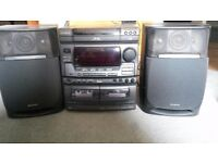 AIWA NSX-V70 Digital Audio System with triple CD, Double Tape Casett, Radio, Karaoke