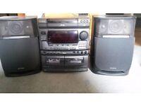 AIWA NSX-V70 Digital Audio System with triple CD, Double Tape Casett, Radio, Karaoke