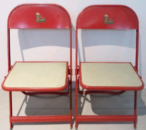 c.1959 MOTHER GOOSE Folding Chairs METAL Antique Vintage
