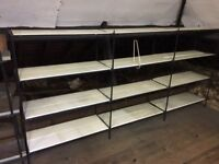 ladderax boltless racking system with painted wooden shelves