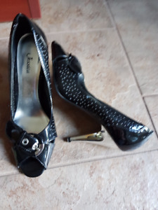 black patent with silver heels
