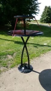 Custom steel bird bath for sale.