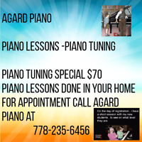 Piano lessons in your home . For students aged 4 to 17.