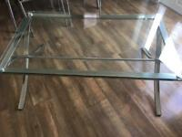Glass coffee table and lamp table