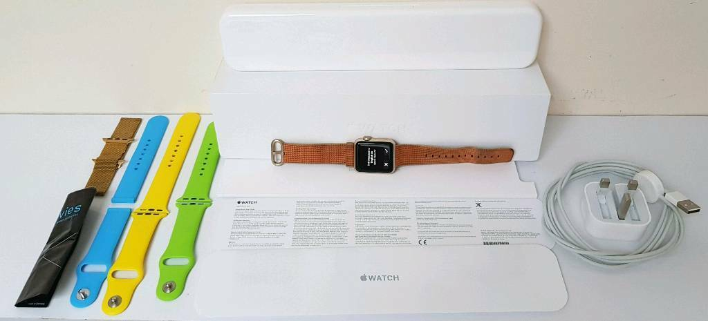 Apple watch rose gold aluminium 38mm red nylon bandboxcharger4x strapsscreen protectorsin Stowmarket, SuffolkGumtree - Apple watch series 1 in rose gold aluminium 38mm red nylon band in original box with all paperwork, original wireless charger & mains plug. Also included are an additional 4x replacement bands (the blue one requires end fasteners to connect to watch)...