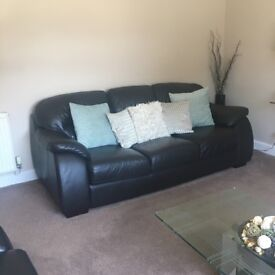 2x Brown leather sofas for sale in Edinburgh