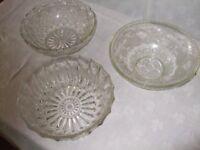 Three vintage heavy glass bowls