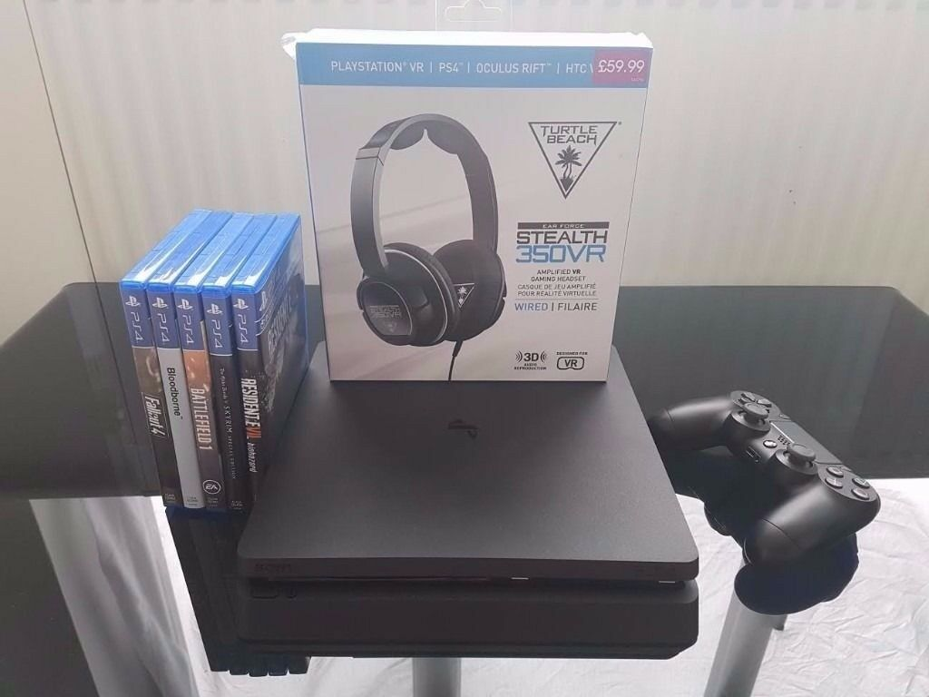 PS4 Slim w/ 6 games and almost new turtlebeach headset. Can remove games/headset for lower price