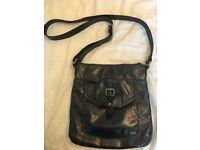 Black leather cross body bag