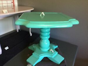 Blue pedestal side table. - 1 available