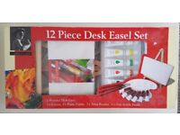Small Desk Easel/Paint/Canvas Set [Never Used] Ideal for kid's, small crafts, beginners etc