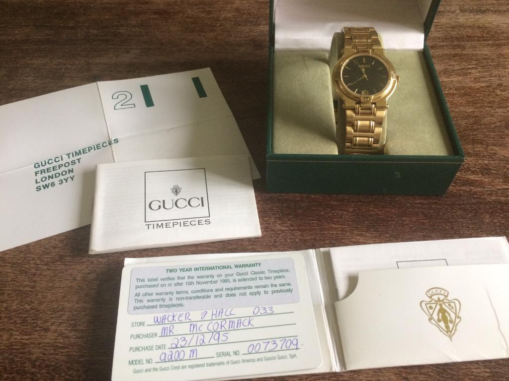 gucci 9200m. vintage gucci 9200m gold plated gentlemans watch 1995