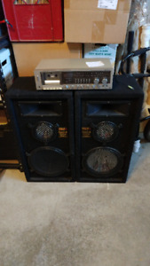 Two pair of speakers PLUS a receiver/cassette combo