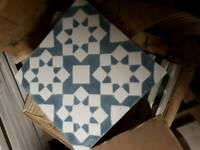Blue and white classic pattern encaustic Morrocan hand painted tiles