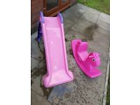 Little tykes slide and rocking horse. Good condition.