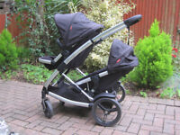 Phil and Teds Promenade Double Twin Pram Stroller Pushchair Buggy Black Babyer Toddler