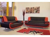 ★★ HIGH QUALITY★★ FAUX LEATHER ★★BLACK AND RED CAROL SOFA SUITE - SAME DAY FAST DELIVERY