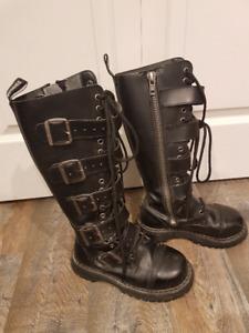 Goth/ Punk Shoes, toque, purse, and a corset