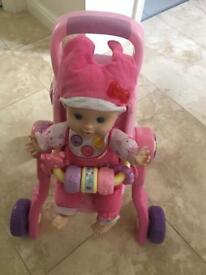 Vtech Little Love 3 in 1 Interactive pushchair and Little Love Baby