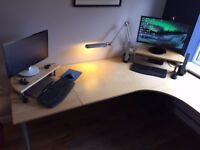 Galant Desk from IKEA, Beech, A Legs, 2 Extensions (Monitor stands not included)