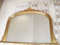 One Large Ornate Gold Mirror