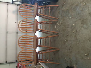 4 large wood bar stools