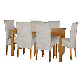 Lincoln Oak Effect 150cm Dining Table and 6 Pale Grey Chairs