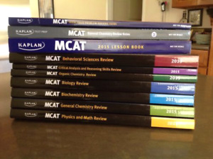 MCAT Kaplan Review 7 Books + Lesson Book + High Yield + Notes