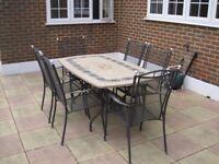 GARDEN TABLE & BLACK CAST METAL MESH CHAIRS SET BEIGE TILED TOP 159cm x 88cm OUTDOOR £150 ONO