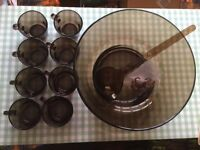 Vintage Punch Bowl 8 Cups Ladle & Hooks (never used)