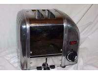 2-slot Dualit Vario/Classic toaster in polished stainless steel/solid aluminium.