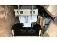 """32"""" to 72"""" Pure Black Glass Tv stand and Unit inc wire tidy"""