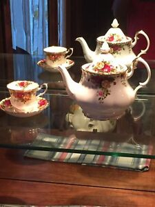 Royal Albert Tea Pot, Cup, Sugar, and Creamer