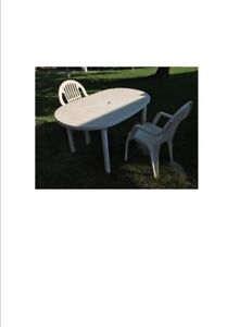 White Plastic table & chairs