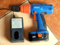 DRAPER 18v PORTABLE DRILL WITH BATTERY AND CHARGER.