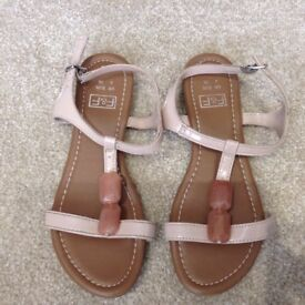 Ladies Flat Strappy Sandals - Size 3 (EUR 36)