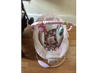 Comfort and Harmony baby bouncer- pink. Brand new batteries