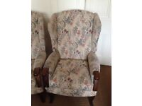 Armchairs - pair, wingback