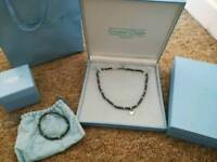 Unworn Crystal Chain black freshwater pearl set, charming bracelet and necklace