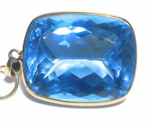 """Natural """"Blue Topaz"""" Pendant Necklace"""