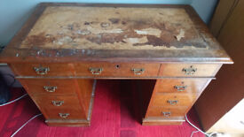 Wdwardian Mahogany Twin Pedestal Writing Desk, Respotration Required