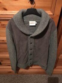 DKNY Medium Wool & Suede Cardigan
