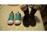 girls size 9 and 9.5 converse tainers and clarks boots