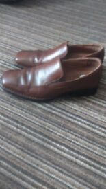 Mens Brown Leather Rockport Slip on Shoes