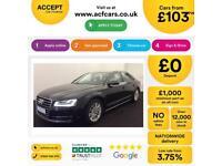 Black AUDI A8 SALOON 3.0 TDI Diesel SPORTS LINE FROM £103 PER WEEK!