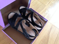 Ladies Sandals - Black - Size 5 Extra Wide Fit - Leather Sock - Brand New