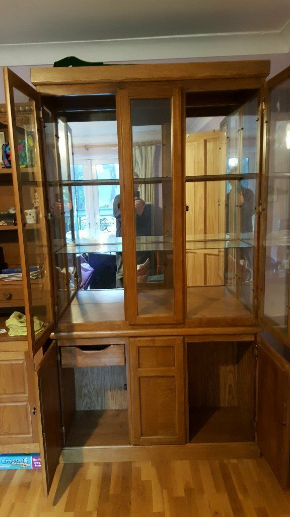 Oak Glass Display Cabinet For Sale Sutable Lounge Or Dining Room
