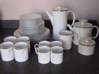 White Tea/Coffee Set with Gold Rim