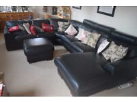 A Large Genuine Leather Corner Sofa with Head & Foot Rest
